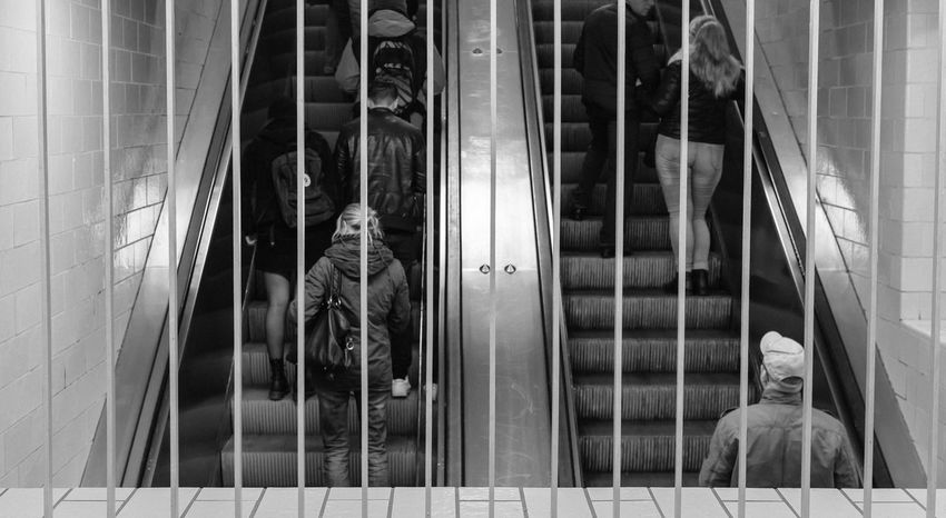 berlin underground Alexanderplatz Berlin Berliner Ansichten Black And White Black And White Photography EyeEm Best Shots - Black + White Hinter Gitter Metal Monochrome Monochrome Photography Notes From The Underground Open Edit Ostberlin People People Photography Schwarzweiß Schwarzweißfotografie Stairways Steel Streetphotography Train Station U-Bahnhof Underground Station  Undergroundphotography