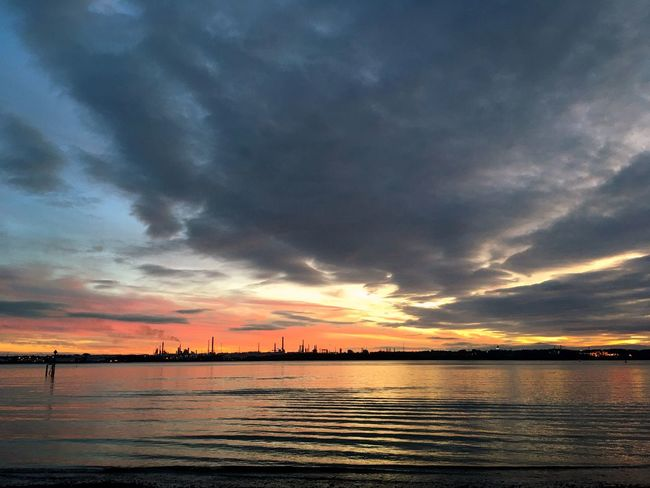 Fawley Power Station at Sunset. Sunset Water Sky Cloud - Sky Beauty In Nature Scenics Orange Color No People Sea Outdoors Waterfront Power Station Calm Water Perspectives On Nature