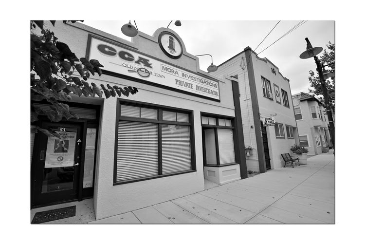Historic Niles District 7 Niles Town Plaza Old Railroad Town C C A Mora Investigations Private Investigator Office Building Signs Building Facade Windows Doorways Advertisement Sidewalk Lamps Apartment Buildings Lamppost Tree Branches Monochrome Monochrome_Photography Black & White Black & White Photography Black And White Black And White Collection  Urban Photography Bench Flower Planter Poster Commercial Sign