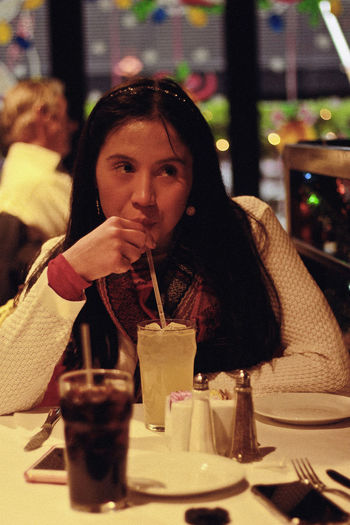 Lunch, 2018 Restaurant Food And Drink Drink One Person Real People Refreshment Front View Table Sitting Leisure Activity Lifestyles Portrait Young Adult Food Business Waist Up Women Glass Young Women Straw Drinking Lunch Winter New York Cute My Best Photo