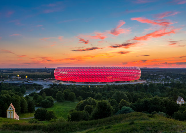 Famous football stadium Allianz Arena in Munich, Bavaria, Germany, Europe München Munich Alliance Allianz Allianz Arena Arena Bayern Upper Bavaria Bavaria Oberbayern Deutschland Germany Soccer Fussball Stadion Stadium No People Outdoors Sky