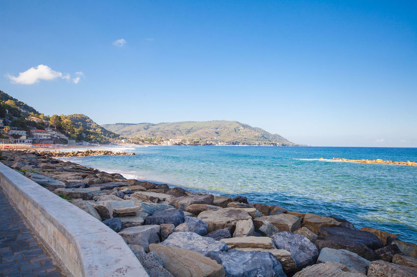 View of Castellabate town in province of Salerno Beach Beauty In Nature Campania Castellabate Italy Mediterranean  No People Outdoors Rock - Object Salerno Sea Water