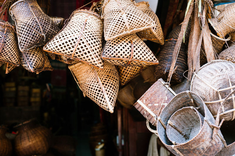 craft in Laos Business Choice Close-up Craft Day Focus On Foreground For Sale Hanging Hat Large Group Of Objects Market Nature No People Outdoors Pattern Retail  Retail Display Sale Small Business Variation Wood - Material