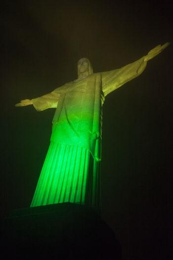 Christ the Redeemer, Rio de Janeiro, Brazil Brazil City Cityscape Colors Rio De Janeiro Tourist Attraction  Close-up Green Color Human Representation Night Nigth  No People Outdoors Sculpture South America Statue