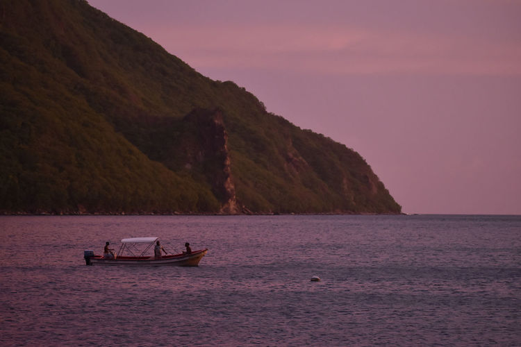 Scenic view of sea against sky during sunset saint lucia