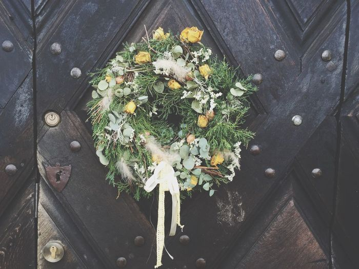 Close-Up Of Easter Wreath On Door