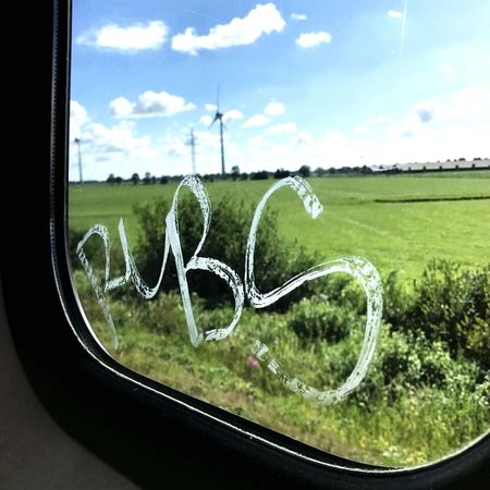 Train views Sky Field Landscape Day Cloud - Sky Green Color No People Window Transportation Close-up Nature