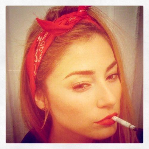 SELFPORTRAIT #bandana #red #bloods #cig #smoke #prehalloweensucks Smoke Red Bandana Cig Bloods  Prehalloweensucks