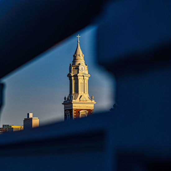 A beautiful view of the st augustine chruch from the ben franklin bridge.