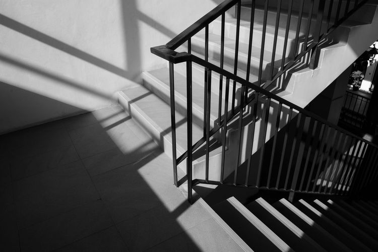 Railing Steel Background Stairs White Design Staircase Architecture Metal Light Structure Step Rail Handrail  Modern Building Black Hand Abstract Detail Construction Interior Stairway Concept Empty Urban Iron Way Through Metallic Home House Shadow
