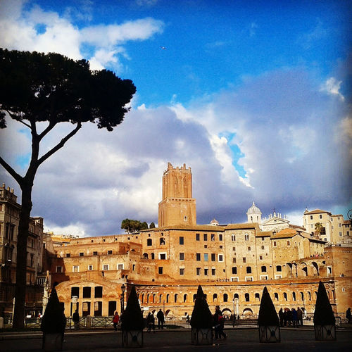 Ruins Ancientrome Architecture Building Exterior Built Structure Cloud - Sky Day History Large Group Of People Outdoors People Real People Romanforum Sky Spirituality Traianoforo Travel Destinations Tree
