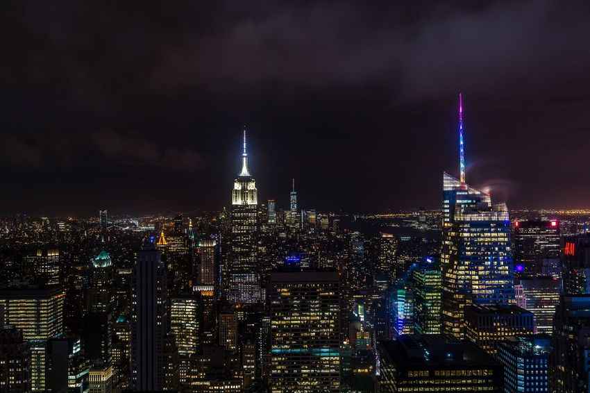 New York City Rockefeller View Empire State Building New York Night Rockefeller Center New York Architecture Building Exterior Built Structure Night City Illuminated Sky Cityscape Tower Building