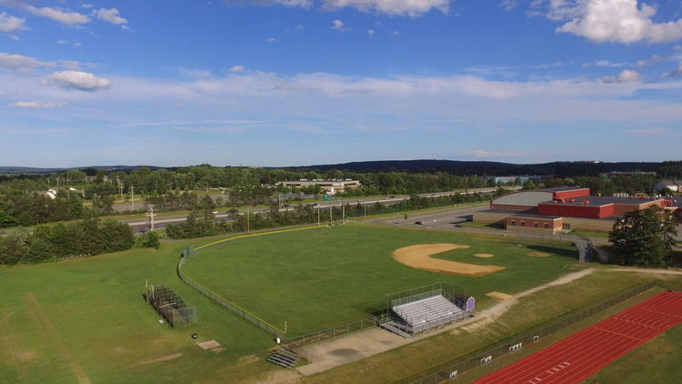 Aerial Athletics Baseball Baseball - Sport Baseball Field Blue Sky Building Exterior Day Drone  Grass High Angle View High School Nature No People Outdoors Playing Field Sky Soccer Field Sport Track Tree