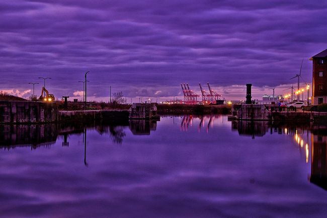 EyeEm Selects Liverpool Liverpool Waterfront Liverpool Liverpool England Liverpool Docks Reflection Business Finance And Industry Night Purple No People Water Outdoors Sky City Cranes Ocean Sea Sea And Sky Sunset Sunsets EyEmNewHere Cityscape Eyemphotography England 🌹