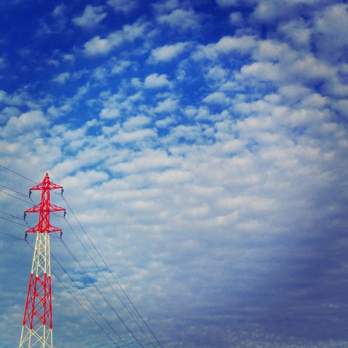 Blue Skies + Clouds Blue Skies Color Contrast Pylons And Power Lines Pylonography Electricity Pylon Bigsky Japan Photography