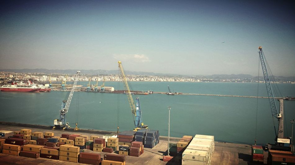 Taking Photos Top View Top Perspective City View  Port Seaside Sea Outdoors Albania Sky And Clouds Crane Cranes Crane