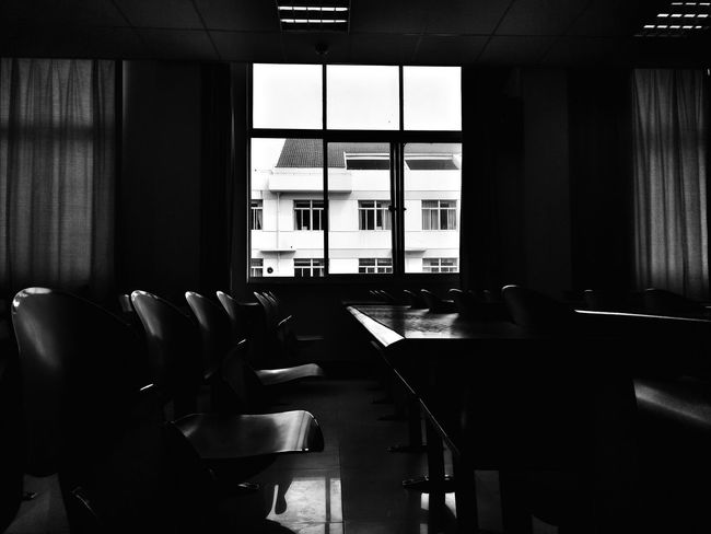 Alone In Space School Life  At School. Studying Daliy Student Life Study Study Time Black And White B_w Collection Black & White B_wphotos Through The Window Outside World Black And White Photography Outside The Window