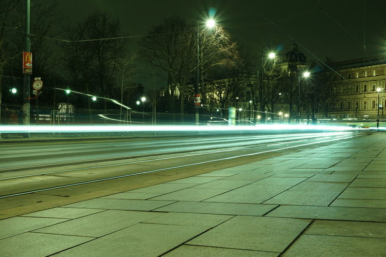 Wien Vienna Ringstrasse Illuminated Long Exposure Night Road