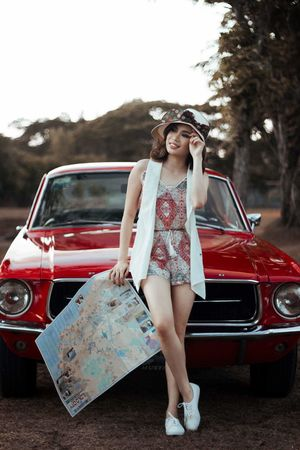 Transportation Young Women Mode Of Transport Lifestyles Casual Clothing Vacations Outdoors Summer Vintagecar Mustang 1967