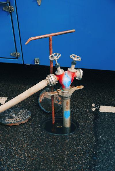 public hydrant Blue Fire Hose Hosepipe Hydrant Innertube Public Red Street Tube Valve Water