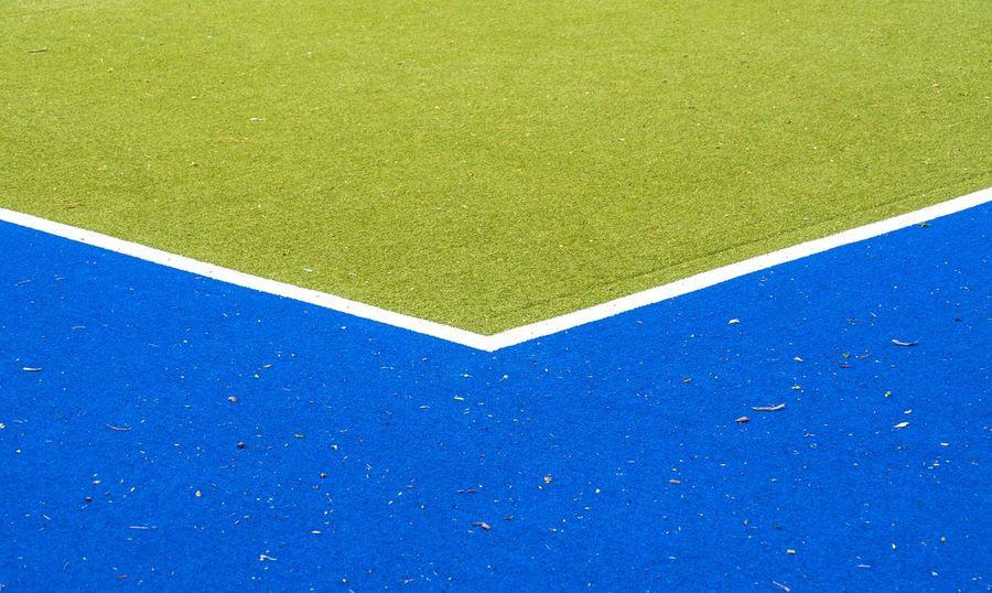 Blue Close-up Corner Court Day Football Field Geometric Shape Grass Green Color Hockey Field Minimalism Minimalist No People Outdoors Playing Field Soccer Field Sport Tennis