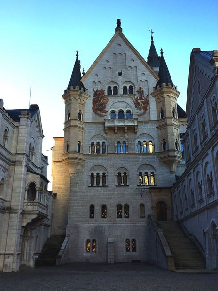 Architecture Place Of Worship Built Structure Building Exterior Low Angle View History Travel Destinations Outdoors Façade Day Sky No People Clear Sky Castle Newschwanstein