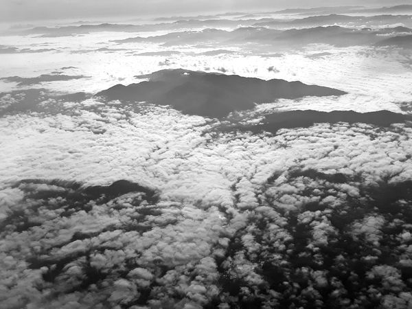 EyeEmNewHere Beauty In Nature Black And White Photography Cloud - Sky Cloudscape High Angle View Nature No People Outdoors Scenics - Nature Sky Tranquility