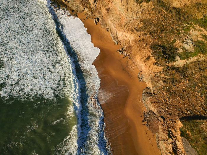 High angle view of beach