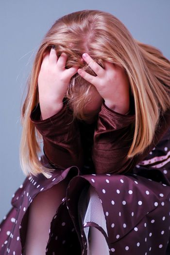 No More Pictures Studio Shot Long Hair Blond Hair Headshot One Person Real People Portrait Close-up Girl Frustrated Frustration Stressed Stress Stressed Out White Background People Indoors  Day
