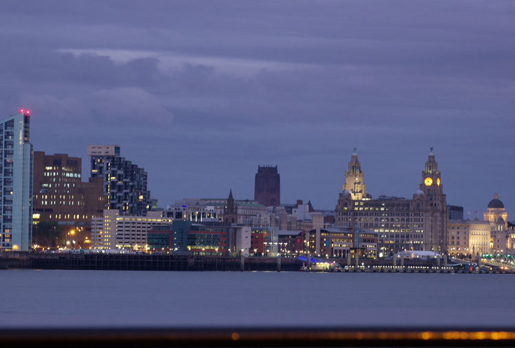 Illuminated Architecture Building Exterior Built Structure Night City Cityscape Sky Water Skyscraper Waterfront Urban Skyline Sea City Life Spire  Tall - High Growth Development Tall Outdoors River Mersey Liverpool Cityscape Liverpool City Liver Building The Liver Building