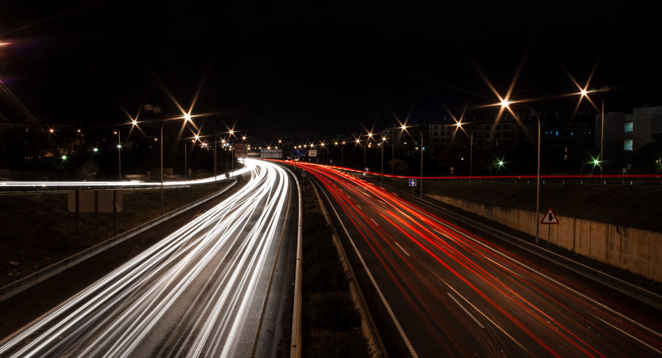 Light Car Illuminated Longexposure Night Road Speed Traffic