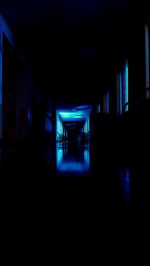 Illuminated lights in building at night