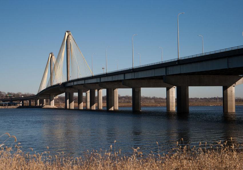Mississippi River Alton Bridge Bridge - Man Made Structure Cable Stayed Bridge Columns Concrete Day Nature No People Outdoors Riverfront Water