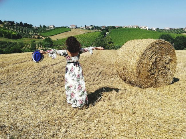 Abruzzo Wheat Field Elegant Woman Open Arms Summer Reaped Wheat Girl With Open Arms Shoulder Girl Country Country Scene Landscape Freedom Girl Woman Valley Sky Bale  Hay Bale Agriculture Farm
