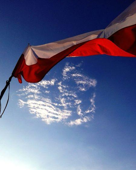 Flag Of Poland Sky Blue Sky Beauty Summer I Miss Summer Oldphotography Heart Cloud