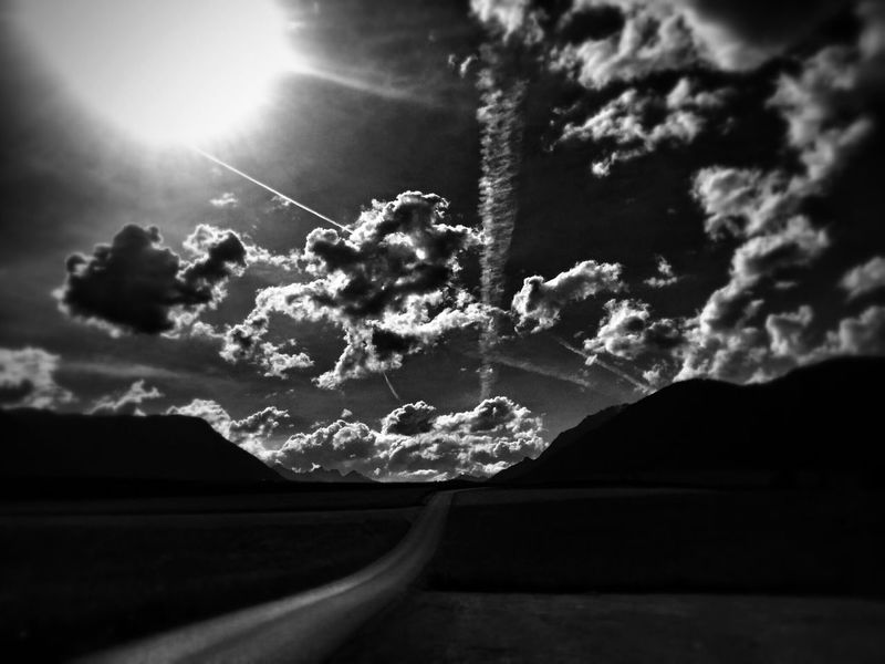 Skyscape Black And White Cloud And Sky Sunset View.