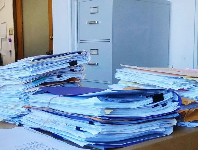 Daily workload... Paperwork.... Office Stack Filing Cabinet Desk Business Paper Close-up Day No People Indoors  Modern Helpingeachother Oakland Ca