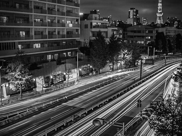 High angle view of light trails on street in city