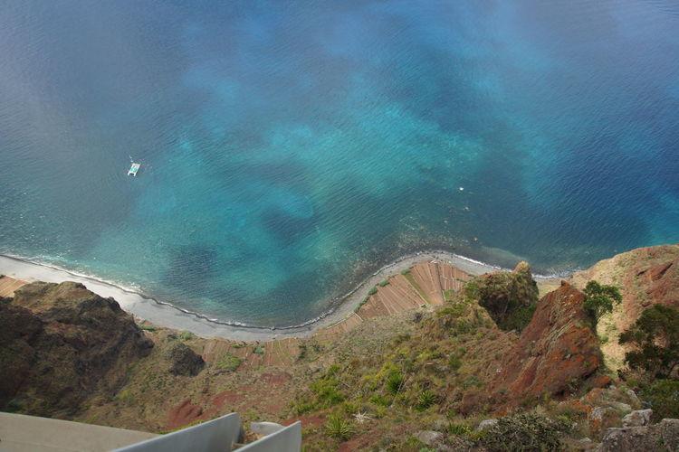 High angle view of beach and sea