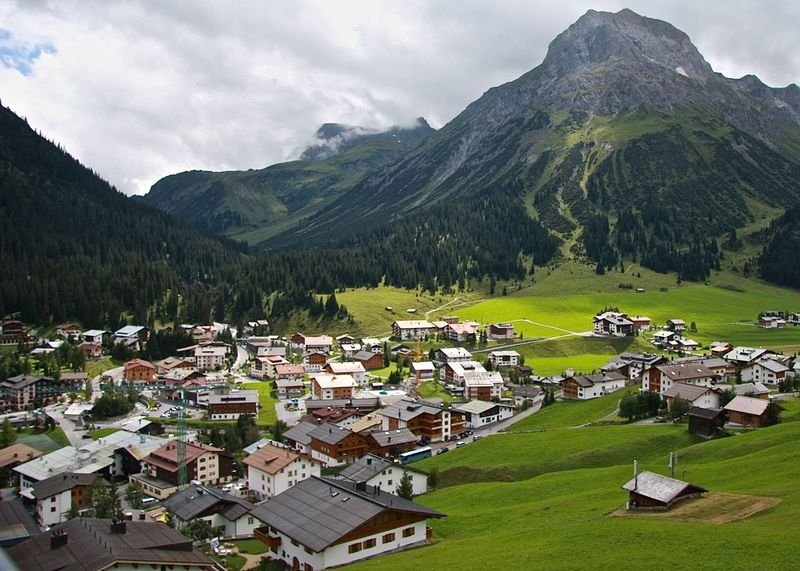 A Bird's Eye View Alps Architecture Arlberg Austria Beauty In Nature Cloud - Sky Enjoying Life Green Color Lech Majestic Mountain Range Nature Outdoors Rooftop Scenics Sky Summer Taking Photos Town Tranquil Scene Valley Village Wineandmore