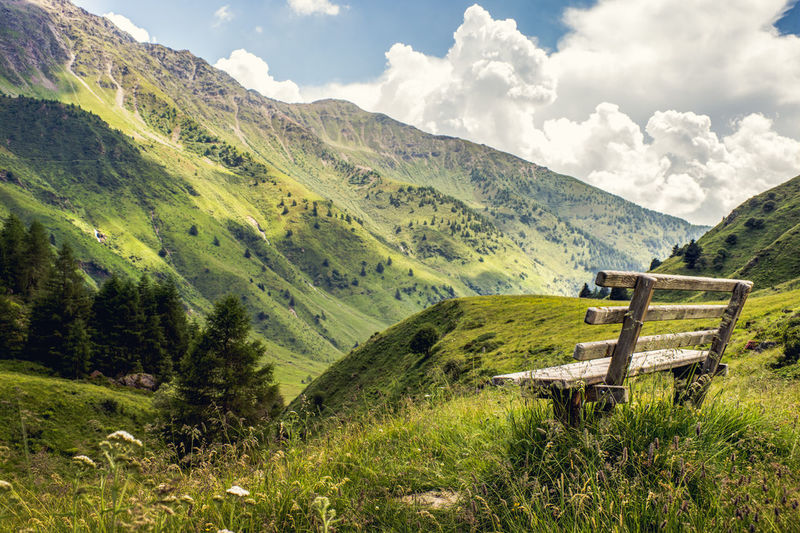Take rest break, while you are hiking Beauty In Nature Bench Cloud - Sky Contemplate Day Green Color Hiking Landscape Landscapes Mountain Nature Nature Outdoors Panorama Peace Quiet Relax Rest Scenics Sitting Summer Valley Walking
