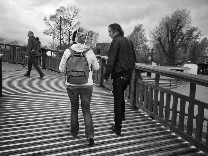 Talking and walking on stripes Mexturesapp Blackandwhite EyeEmSwiss Stripes Streamzoofamily Streetphotography Instameet