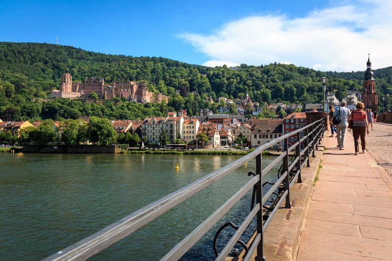 View from the Old Bridge to the Heidelberg Castle, Heidelberg, Baden-Wuerttemberg, Germany Alte Brücke Heidelberg Architecture Bridge Bridge - Man Made Structure Building Building Exterior Built Structure City Cloud - Sky Day Incidental People Nature Outdoors People Plant Railing Residential District River Schloss Heidelberg Sky Transportation Tree Water