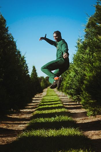 Air Motion Photographer Photography Photo Full Length Jumping One Person Young Adult Mid-air Lifestyles Outdoors Day Real People Tree Clear Sky Sky People Adult Nature