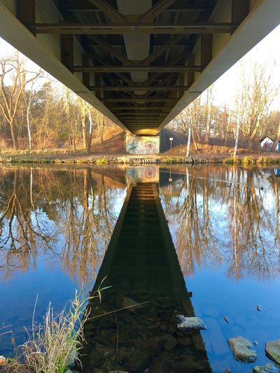 Reflection Water Built Structure Architecture Bridge - Man Made Structure Outdoors Lake Symmetry No People Nature Day Underneath Tree Sky Bridge EyeEm Nature Lover Horizon Over Water Mirror Reflection Beauty In Nature Bridge View Colorful