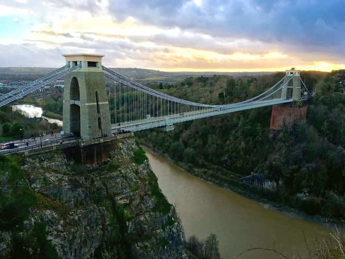 High angle view of bridge over river against cloudy sky