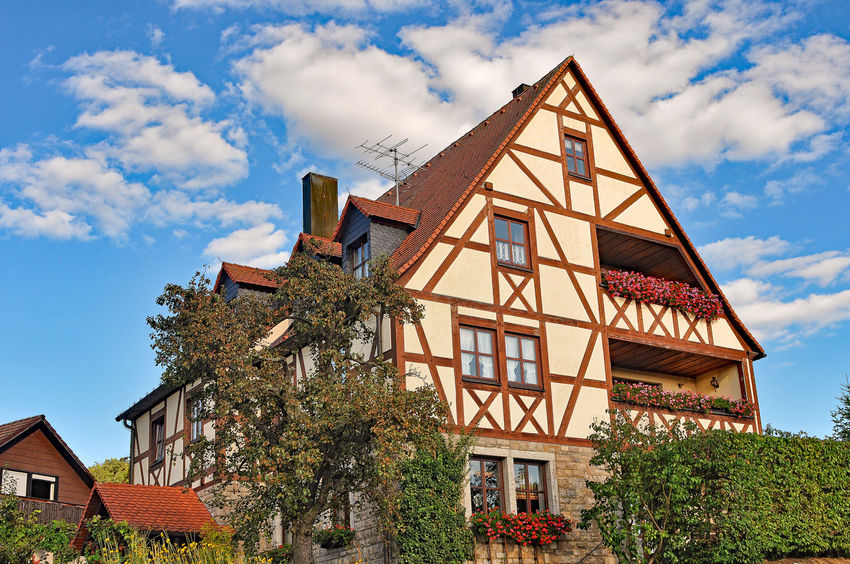 half-timber house fachwerkhaus Architecture Building Exterior Built Structure Composition Day Exterior Façade Half-timber House Historic History House No People Outdoors Perspective Religion Residential Building Residential Structure Roof Town Tree Wide Angle Window