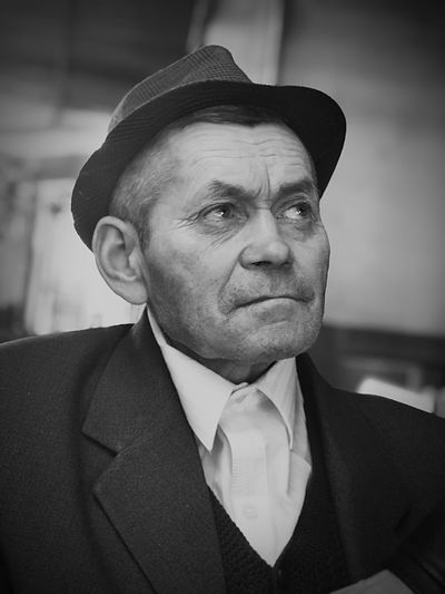 Black And White Black And White Portrait Alone Old Man Loneliness Sadness Sad ShotOnIphone Portrait Headshot One Person Front View Looking At Camera Real People Males  Men Adult Clothing Hat Focus On Foreground Close-up Well-dressed Mature Men Menswear Human Face Suit