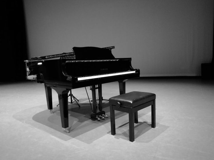 Monochrome Photography Monochrome Black And White Black And White Photography Chair Absence Piano No People Empty Lonely Intimidating Nerves Stage Stage - Performance Space