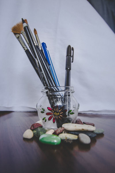 Brushes and Stones Art Brushes Drawing Flower Glass Pen Stone
